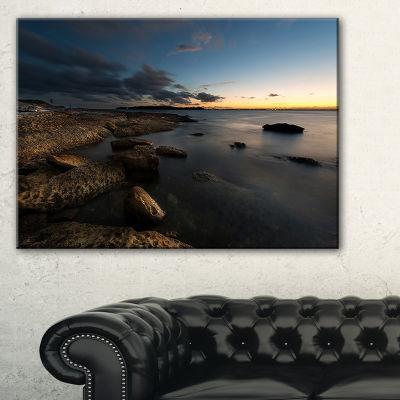 Designart Dark Sydney Coastline Canvas Art