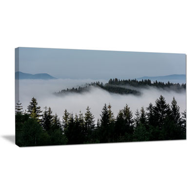 Designart Dark Trees And Fog Over Mountains Canvas Art