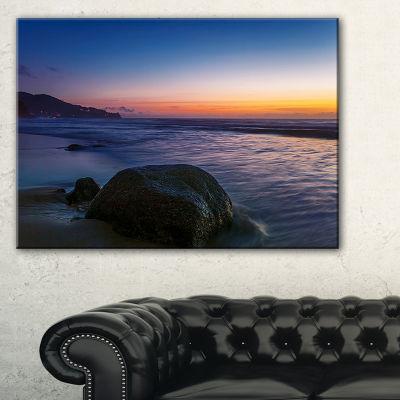 Designart Dark Tropical Seashore In Evening Canvas Art