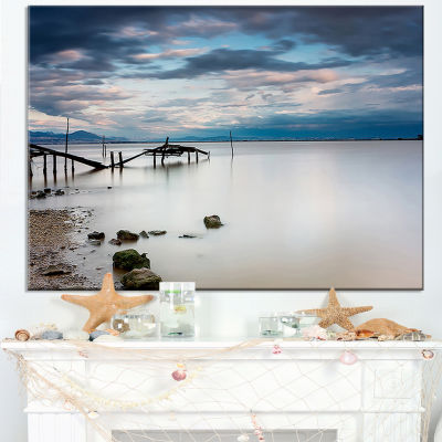 Designart Magic Sunrise With Old Wooden Pier Canvas Art