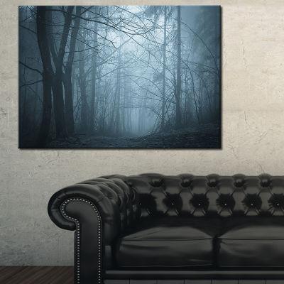 Designart Darkness In Forest With Fog Canvas Art