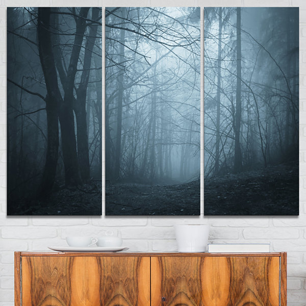 Designart Darkness In Forest With Fog 3-pc. Canvas Art