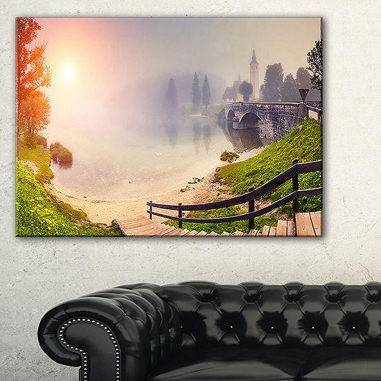 Designart Majestic Foggy Morning In Lake Canvas Art