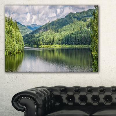 Designart Majestic Lake Between Forest Canvas Art