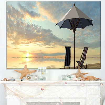 Designart Deck Chairs And Umbrella On Beach Canvas Art