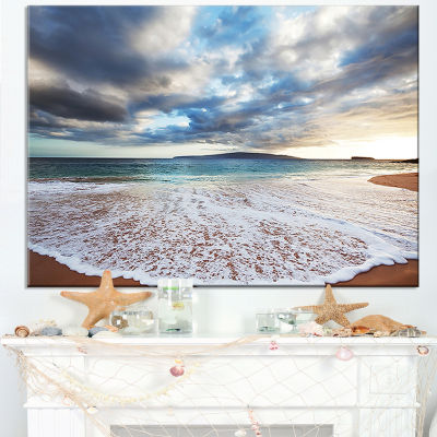 Designart Deep Seashore With Clouds And Waves Canvas Art