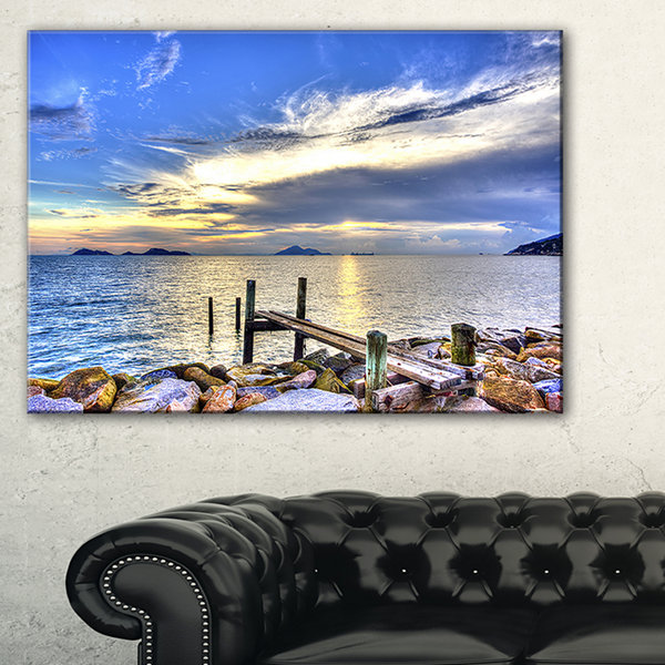 Designart Makeshift Wooden Pier Into The Sea Canvas Art