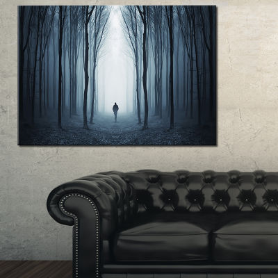 Designart Man Walking Along In Misty Forest Canvas Art