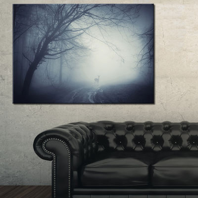 Designart Deer On Road In Foggy Fall Night 3-pc. Canvas Art