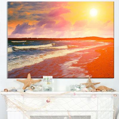 Designart Desert Beach At Sunset Canvas Art