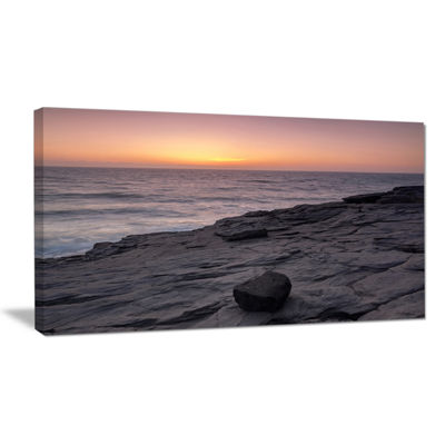 Designart Massive Rock On Beach Magoito Sintra Canvas Art