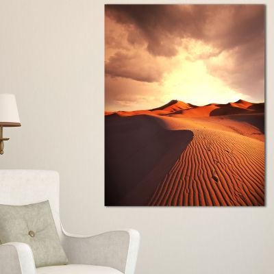 Designart Desert Dunes Under Cloudy Sky Canvas Art