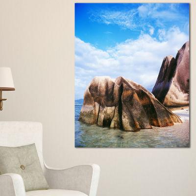 Designart Massive Rocks In Seychelles Beach Canvas Art