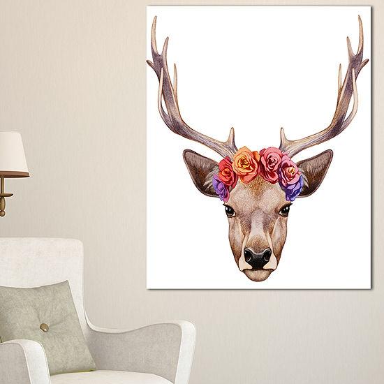 Designart Designart Deer Portrait With Floral Head Canvas Art