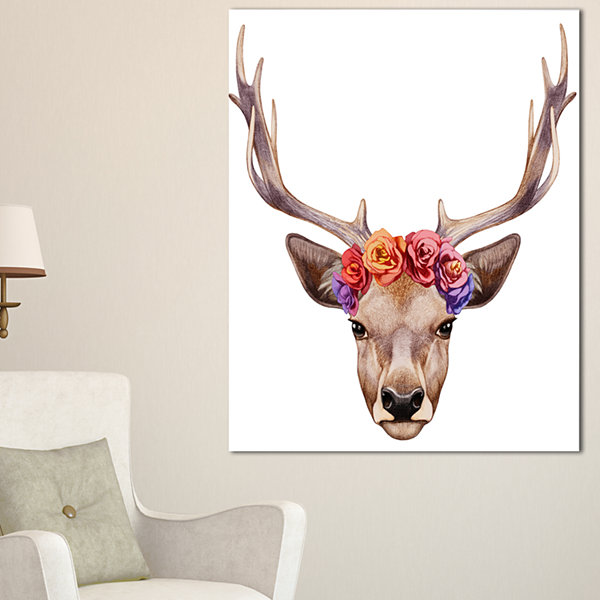 Designart Designart Deer Portrait With Floral Head Canvas Art