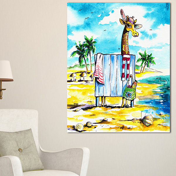 Designart Designart Giraffe In Dressing Room On Beach Canvas Art