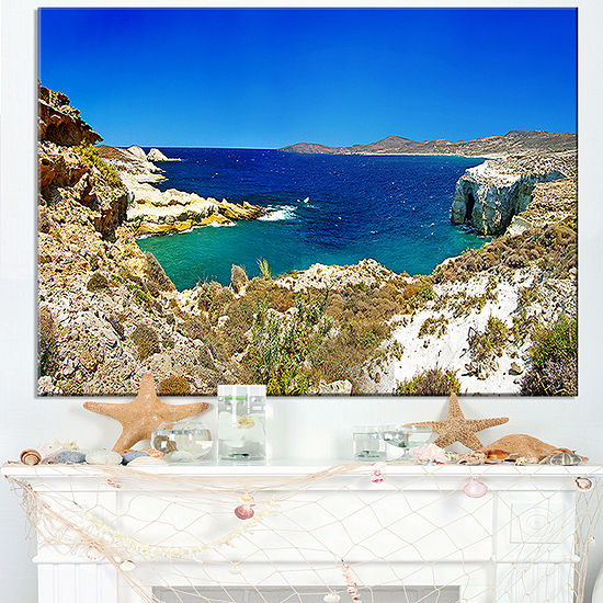 Designart Milos Island Bay Panorama Canvas Art