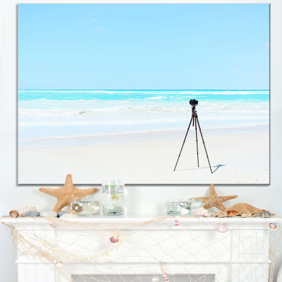 Designart Digital Camera And Tripod On Beach Canvas Art