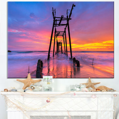 Designart Discarded Wooden Bridge At Sunset Canvas Art