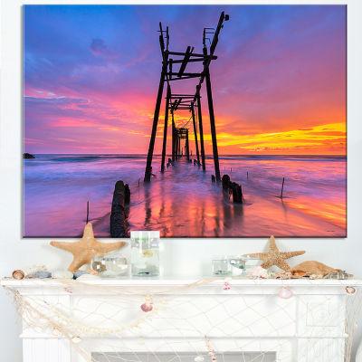 Designart Discarded Wooden Bridge At Sunset Canvas Art