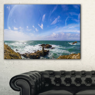 Designart Distant Planet System From Cliffs Canvas Art