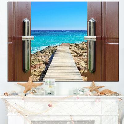 Designart Door Open To Wooden Ocean Pier Canvas Art
