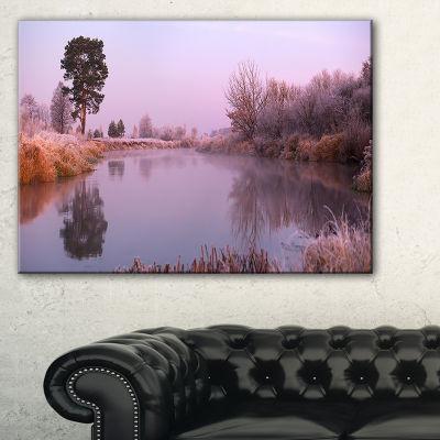 Designart Misty Autumn Sunrise Over River Canvas Art