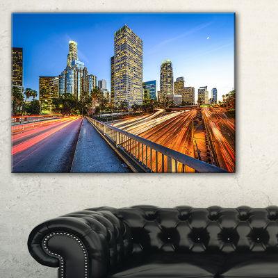 Designart Downtown La With Traffic Trail Canvas Art