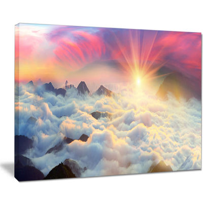 Designart Misty Beautiful Chornogory Ridge Canvas Art