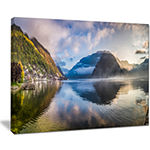 Designart Misty Lake At Dawn Panorama Canvas Art