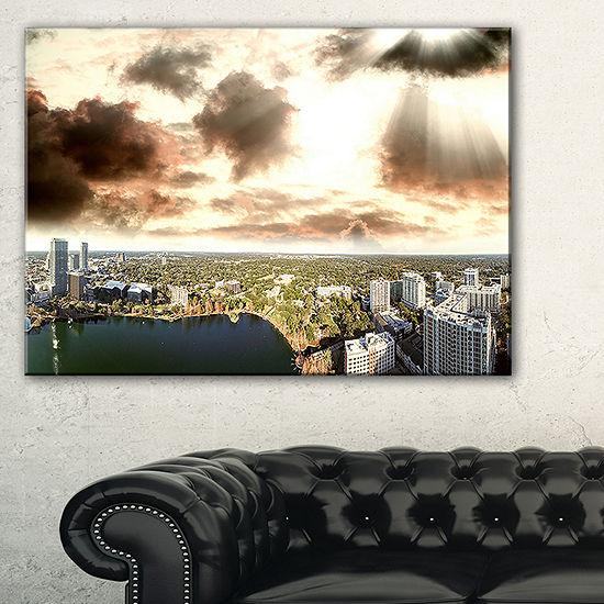 Designart Downtown Orlando Sunset Aerial Canvas Art