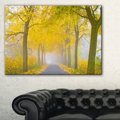 Designart Misty Road In Yellow Autumn Forest Canvas Art