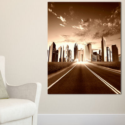 Designart Modern City And Road Canvas Art