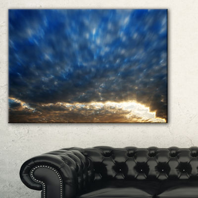 Designart Dramatic Blue And Brown Skies Canvas Art