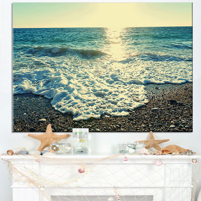 Designart Dramatic Blue Waves On Beach Canvas Art