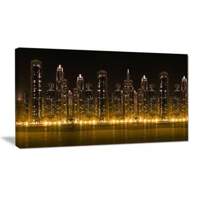 Designart Modern City With Illuminated Skyscrapers Canvas Art