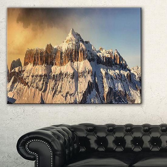 Designart Dramatic Overcast Sky Over Alps Canvas Art