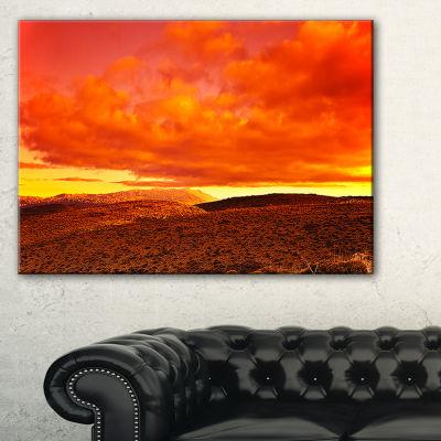 Designart Dramatic Red Sunset At Desert Canvas Art