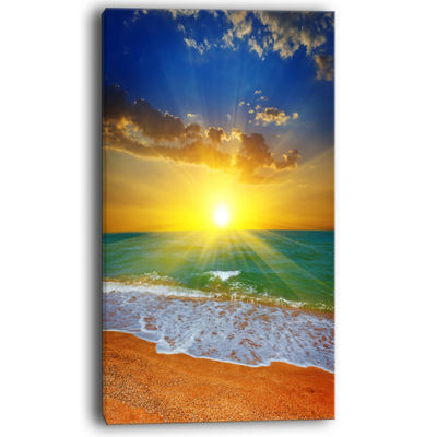 Designart Dramatic Seashore Sky In Yellow Canvas Art