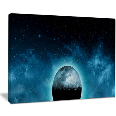 Designart Moon In The Front Of Galaxies Canvas Art