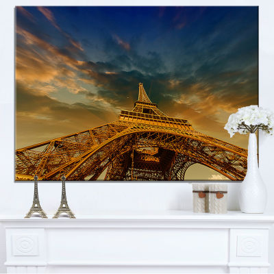 Designart Dramatic Sky Above Paris Paris Eiffel Towerin Paris Canvas Art