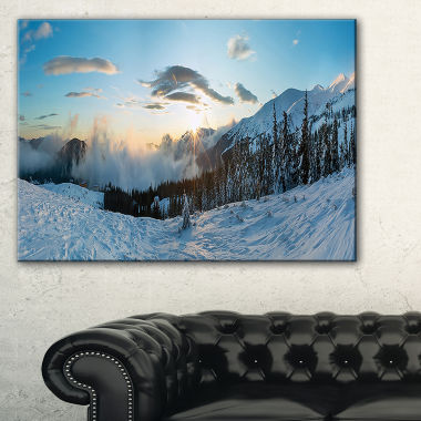 Designart Morning Winter Carpathian Mountains Canvas Art