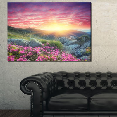 Designart Morning With Flowers In Mountains Canvas Art