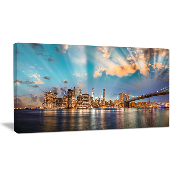 Designart Dramatic Sky Over Manhattan City Canvas Art