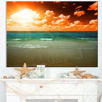 Designart Dramatic Sky Over Tropical Sea Beach Canvas Art