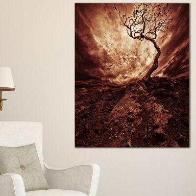 Designart Dramatic White Sun Over Lone Tree Canvas Art