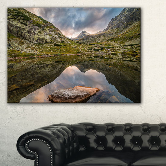 Designart Mountain Lake Over Skok Waterfall Canvas Art