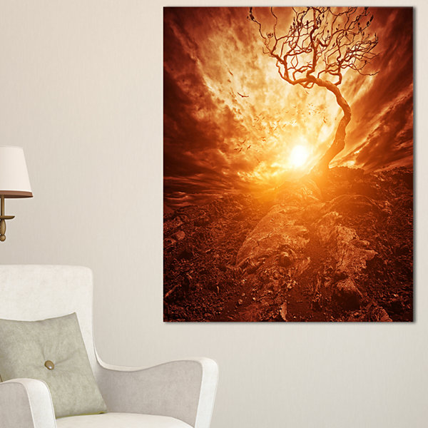 Designart Dramatic Yellow Sun Over Lone Tree Canvas Art