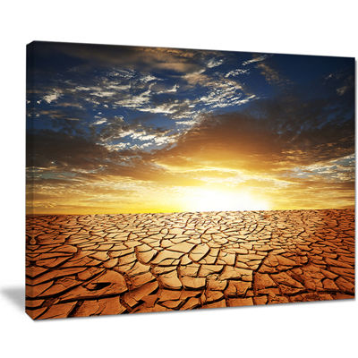 Designart Drought Land Under Bright Sunset Canvas Art