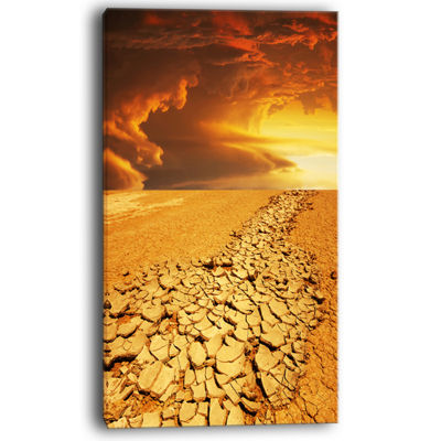 Designart Drought Land Under Dramatic Sky Canvas Art